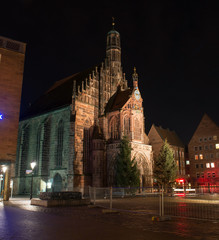 Frauenkirche (Our Lady's Church) at night in Nuremberg