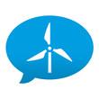 Etiqueta tipo app azul comentario simbolo molino de viento