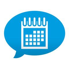 Etiqueta tipo app azul comentario simbolo calendario
