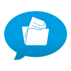 Etiqueta tipo app azul comentario simbolo documento