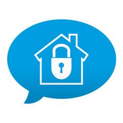 Etiqueta tipo app azul comentario simbolo seguridad en el hogar