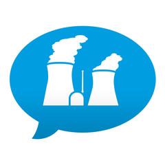 Etiqueta tipo app azul comentario simbolo central nuclear