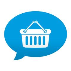 Etiqueta tipo app azul comentario simbolo cesta de la compra