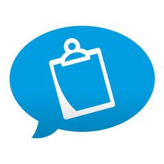 Etiqueta tipo app azul comentario simbolo clipboard