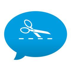 Etiqueta tipo app azul comentario simbolo linea de puntos