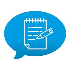 Etiqueta tipo app azul comentario simbolo bloc de notas