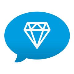 Etiqueta tipo app azul comentario simbolo diamante