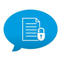 Etiqueta tipo app azul comentario simbolo documento seguro