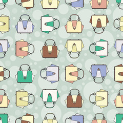 Vector pattern with fashion colorful handbags