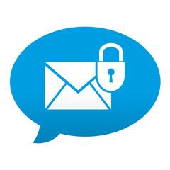Etiqueta tipo app azul comentario simbolo correo seguro