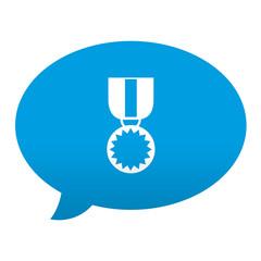 Etiqueta tipo app azul comentario simbolo medalla