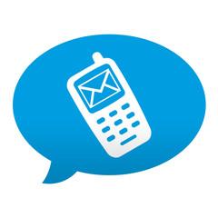 Etiqueta tipo app azul comentario simbolo SMS