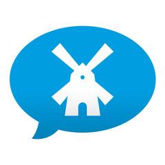 Etiqueta tipo app azul comentario simbolo molino