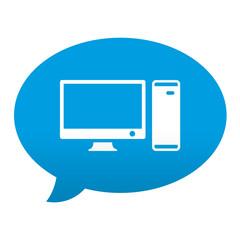 Etiqueta tipo app azul comentario simbolo ordenador