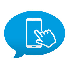 Etiqueta tipo app azul comentario simbolo pantalla tactil