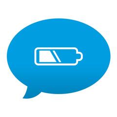 Etiqueta tipo app azul comentario simbolo pila electrica