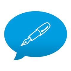 Etiqueta tipo app azul comentario simbolo pluma estilografica