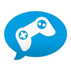 Etiqueta tipo app azul comentario simbolo mando de videoconsola