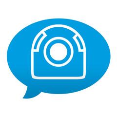 Etiqueta tipo app azul comentario simbolo webcam