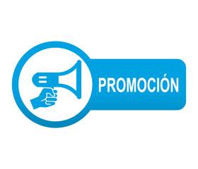 Etiqueta tipo app azul alargada PROMOCION