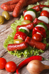 grilled sausages with vegetables and ingredients closeup