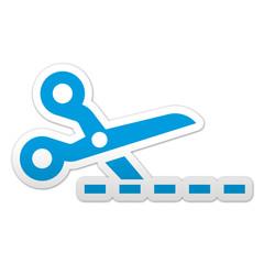 Pegatina simbolo cortar linea de puntos