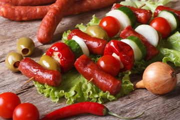 grilled sausages with vegetables and ingredients horizontal