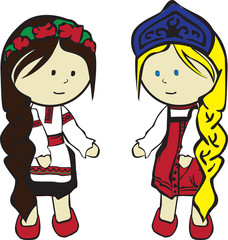 two Slavic girls in costumes on a white background