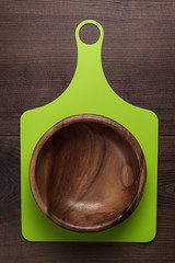 wooden salad bowl and cutting board