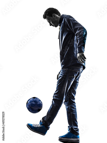 canvas print picture young man soccer freestyler player silhouette