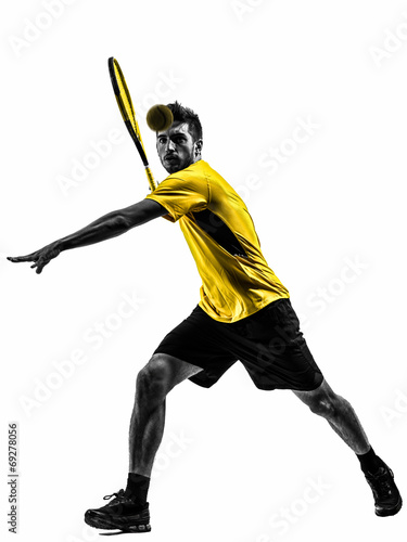 canvas print picture man tennis player silhouette