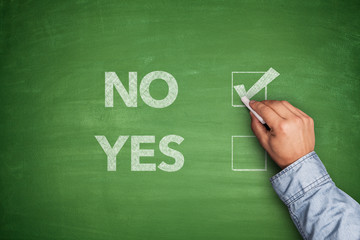 Yes or No, two choices written on the blackboard