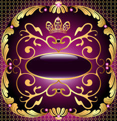 background with pattern and crown of gold and precious stones