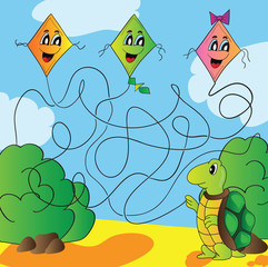 Maze  turtle with a kite