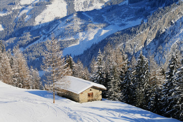 Alpine hut in winter with roofs covered with a layer of snow