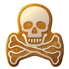 Gingerbread skull symbol decorated icing. Crossbones cookie