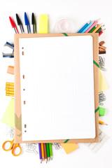 School equipment with notebook