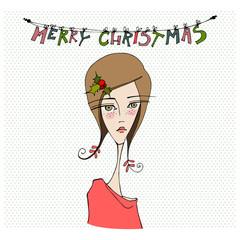 Christmas card with cute girl