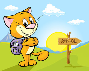 landscape with cat and directional signs  - the way to school
