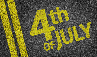4th of July written on the road