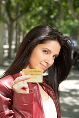 woman with credit card in her hand
