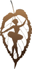 The ballerina a silhouette entered in a leaf. Vector