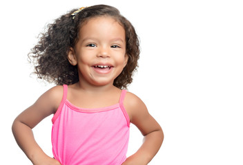 Lttle girl with an afro hairstyle with her arms extended