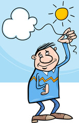 man with cloud on string cartoon
