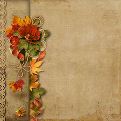 Vintage beautiful background with autumn border