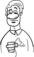 sad man cartoon coloring page