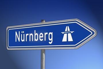 Autobahnwegweiser Nürnberg