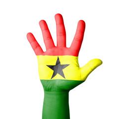 Open hand raised, Ghana flag painted
