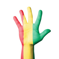 Open hand raised, Guinea flag painted