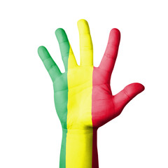 Open hand raised, Mali flag painted